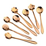YJYDADA 8Pcs Stainless Coffee Spoon Flower Shape Dessert Spoon Ice Cream Candy Tea Spoon (Rose Gold)