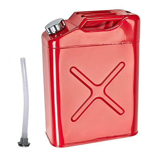 Z ZTDM EU 20L / 5 gallon Portable Fuel Oil Water Petrol Diesel Storage Can Army Gree Steel Gas Tank Emergency Backup (Red) (Can Gree compare prices)