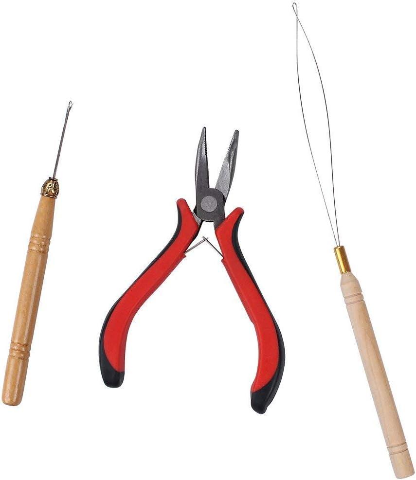 Juego de 3 utensilios para extensiones de cabello, 1 alicates, 2 agujas de lazo, 200 micro y nano anillas para unir el cabello y extensiones para el pelo de plumas: Amazon.es: Belleza