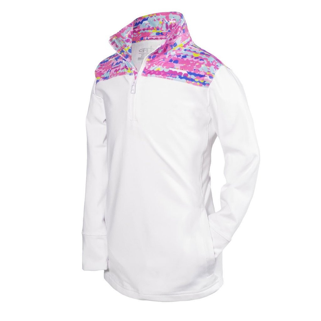 Garb Youth Girls White 1/4 Zip Performance Golf Pullover Large