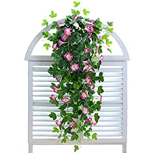 "XHSP 2 Bunches Artificial Vines 35.4"" Morning Glory Hanging Plants Silk Garland Fake Green Plant Home Garden Wall Fence Stairway Outdoor Wedding Hanging Baskets Decor 23"