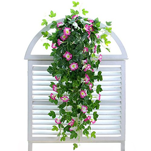 """XHSP 2 Bunches Artificial Vines 35.4"""" Morning Glory Hanging Plants Silk Garland Fake Green Plant Home Garden Wall Fence Stairway Outdoor Wedding Hanging Baskets Decor from XHSP"""