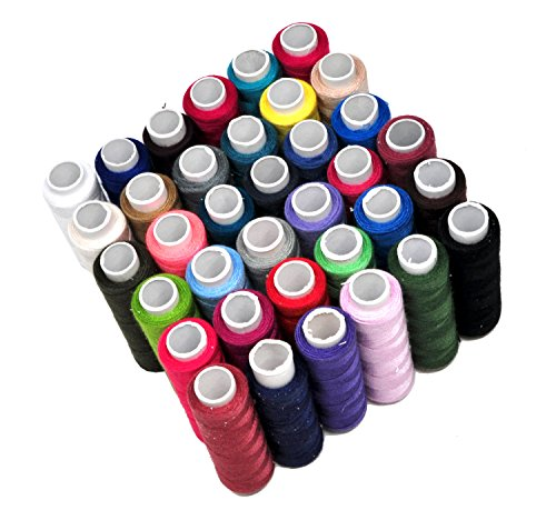 Mandala Crafts 36 Color All Purpose Hand Machine Sewing Embroidery Polyester Thread Assortment Spools Kit (36 Colors)
