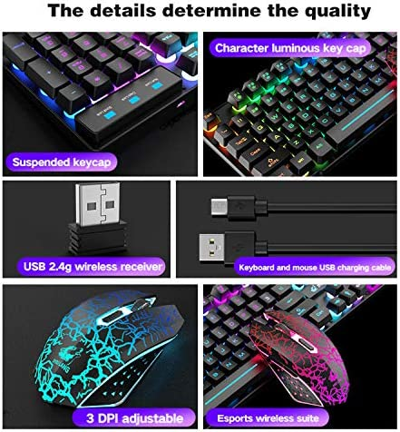 Wireless Gaming Keyboard and Mouse Combo with Rainbow LED Backlit Rechargeable 4000mAh Battery Mechanical Ergonomic Feel Waterproof Dustproof 7 Color Backlit Mute Mice for Computer Mac Gamer