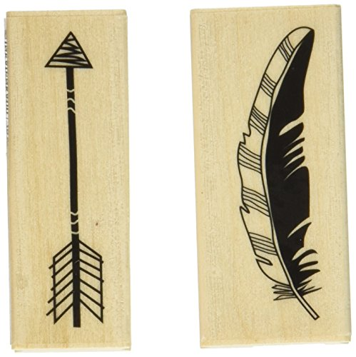 "Inkadinkado Feather Arrow Mounted Rubber Stamp Set, 2.75""..."