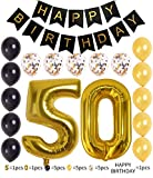 Bright Gold Number 50th Birthday Decorations Foil Mylar Balloon Banner Set Happy Birthday Black Banner, Perfect Anniversary Supplies 50th Birthday Gifts For Women(number50)