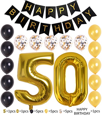 Bright Gold Number 50th Birthday Decorations Foil Mylar Balloon Banner Set Happy Black