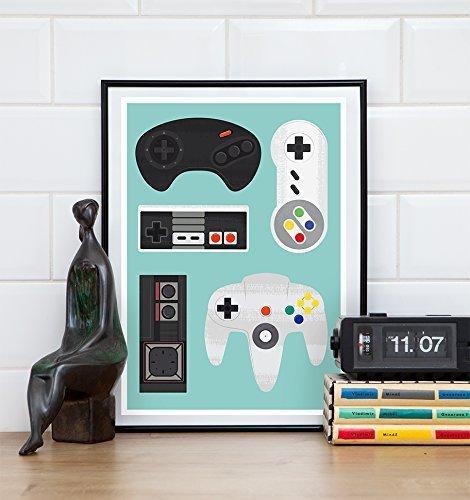Retro Gaming print, video game poster, Geekery art
