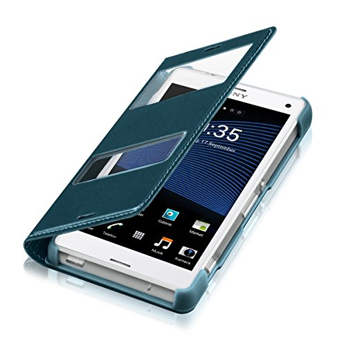 kwmobile Practical and chic FLIP COVER case with window and synthetic leather for Sony Xperia Z3 Compact in turquoise