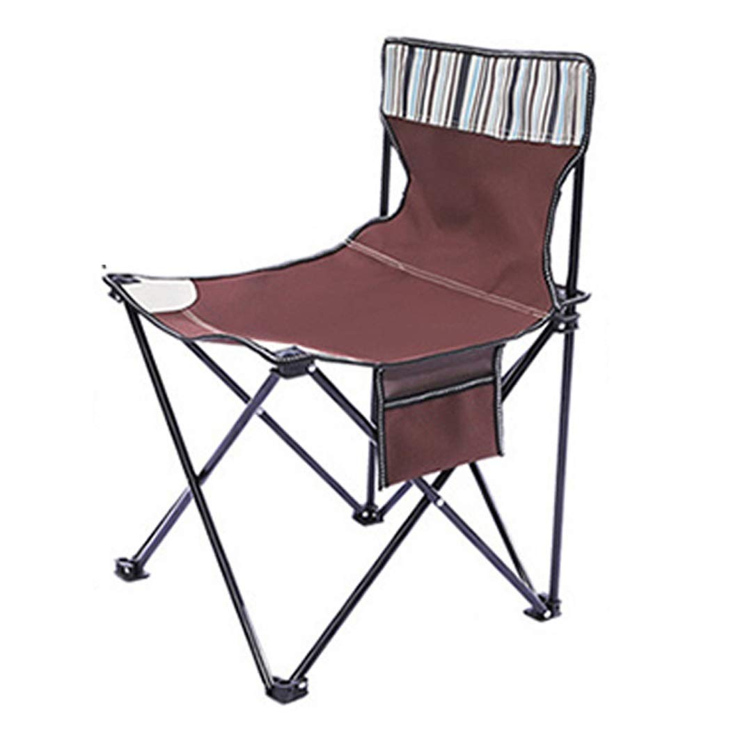Folding Chair Bag Chair Outdoor Camping Park Fishing Portable Leisure Chair Beach Folding Stool (Color : Brown, Size : 404270cm)