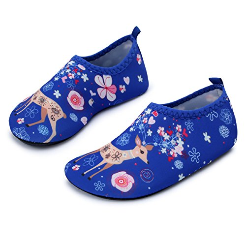 JIASUQI Kid's Barefoot Quick Dry Water Shoes for Beach Pool,Blue Giraffe US 1-2 M Little Kid ()