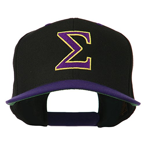 (Greek Alphabet SIGMA Embroidered Two Tone Cap - Black Purple OSFM)