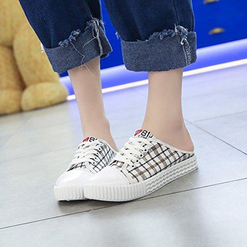 para Estudiantil La Perezoso y De Sandalias Wild Talón Zapatos WHLShoes Femenina Zapatillas Poco chanclas Mitad De Lona Blancos Plana gules Sin mujer UxPAw7nA