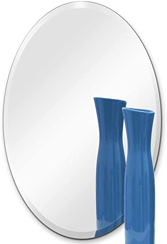 TroySys Frameless Oval Wall Mirror Gla