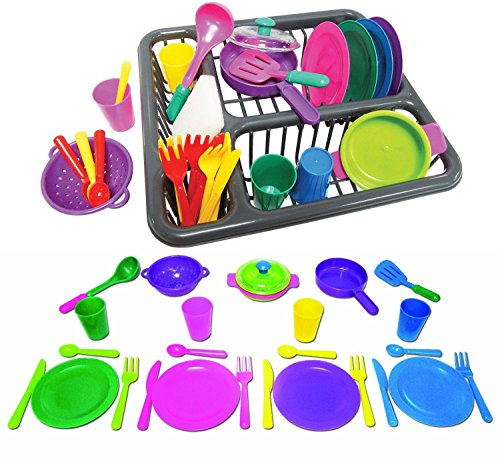 Pretend and Play Childrens Kitchen Dishes Set for Kids, 27 Piece set with Drainer