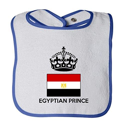 (Egyptian Prince Crown Cute Rascals Tot Contrast Trim Terry Bib White/Royal Blue)