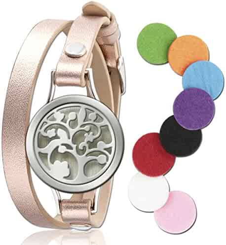 Essential Oil Diffuser Bracelet LoveSea Aromatherapy Locket Bracelets Leather Band with 8 Color Pads