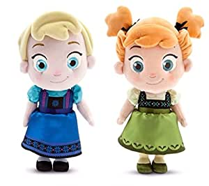 Disney Store Frozen Elsa & Anna Toddler Plush Dolls 12 Bundle of 2