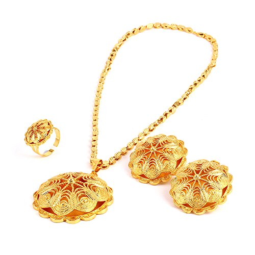 (18K Gold Plated Big Size Jewelry Sets for Ethiopian Habesha Women Wedding Party)