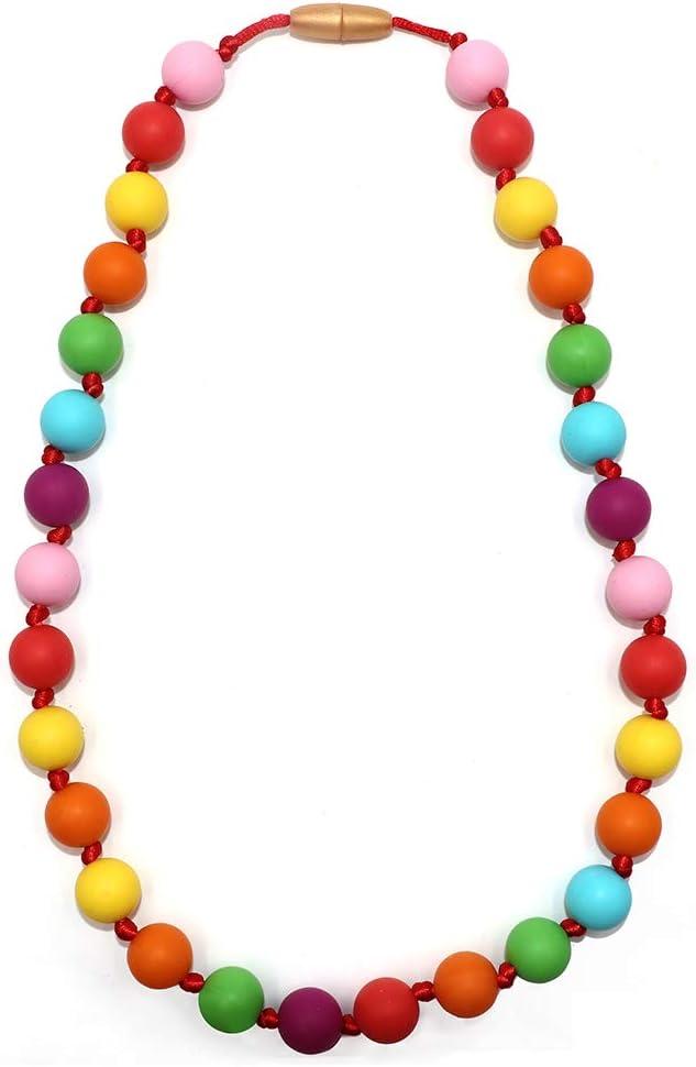 Navy Beaded Teething Necklace Baby Silicone Teether Autism Sensory Chew