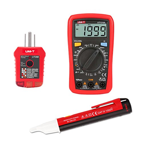 Signstek Maintenance and Test Electrical Test Kit, Including Palm Size Multimeter, Receptacle Tester and AC Voltage Detector by Signstek