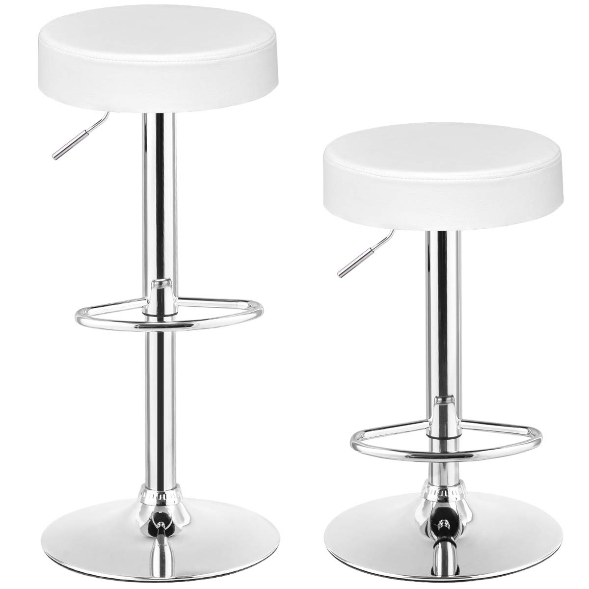 COSTWAY Swivel Bar Stool Round PU Leather Height Adjustable Chair Pub Stool w/Chrome Footrest (White, 2 pcs)