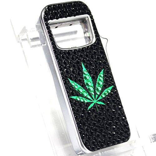 B17 Cannabis Leaf S2 Refillable Butane Lighter - Bottle Opener - Blue LED Light - Unboxed Flashing Lighter
