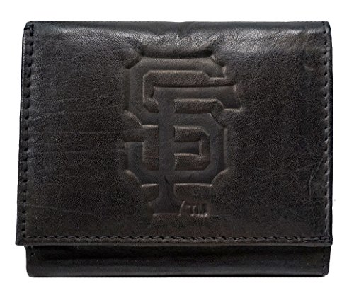 - Rico San Francisco Giants MLB Embossed Logo Black Leather Trifold Wallet