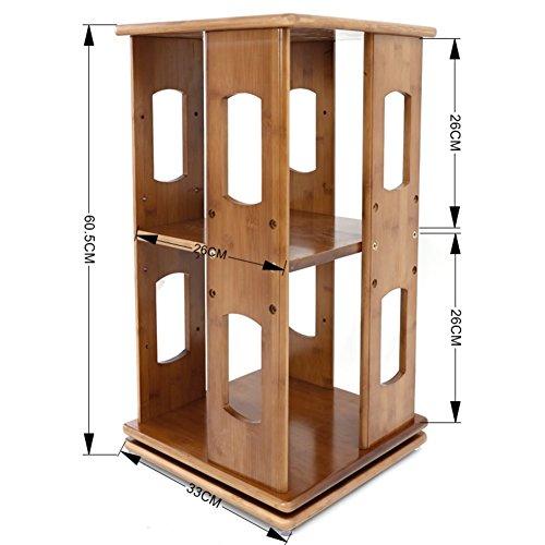 Desk Organiser Bookshelf, Revolving Bookcase, Modern Simple Design Shelf 2 Tier Storage Rack for Office Living Room Wood Shelves-b 33x33x60cm(13x13x24inch) ()