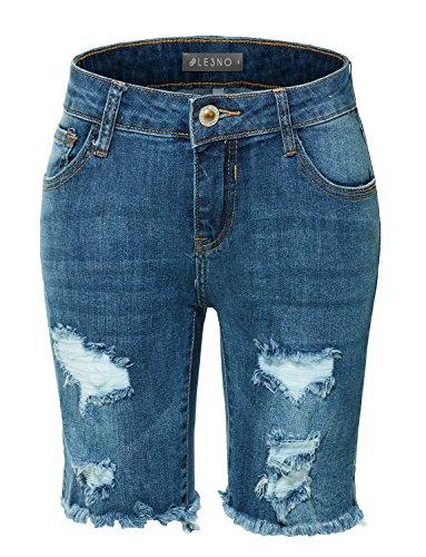 Dark Blue Short (LE3NO Womens Stretchy Mid Rise Washed Frayed Hem Denim Bermuda Shorts)