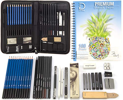 Drawing Pencils and Sketch Set (41pcs Art Kit) - Everything you need for Drawing and Sketching with Graphite, Charcoal and Pastels, with a Full Size 9x12 Sketch Pad - All in Convenient Portable Case