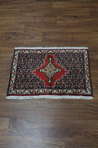 Bidjar Persian Oriental Area Rug (Rare Design Entrance Tribal Bidjar Persian Oriental Area Rug Carpet 1'8X2'4)