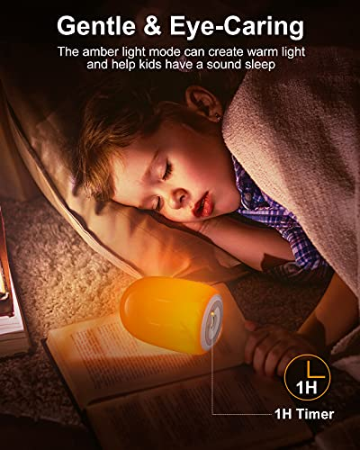 Night Light for Kids, VEYFIY Nursery Night Lights with 4 LED Modes, Dimmable Touch Rechargeable Beside Lamp with Charging Base, Candle Light Style Night Lamp for Kid with Timer, Table Lamp for Bedroom