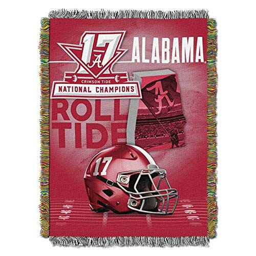 Univeristy of Alabama Roll Tide NCAA Football 2017 National Champions Woven Tapestry Throw ()