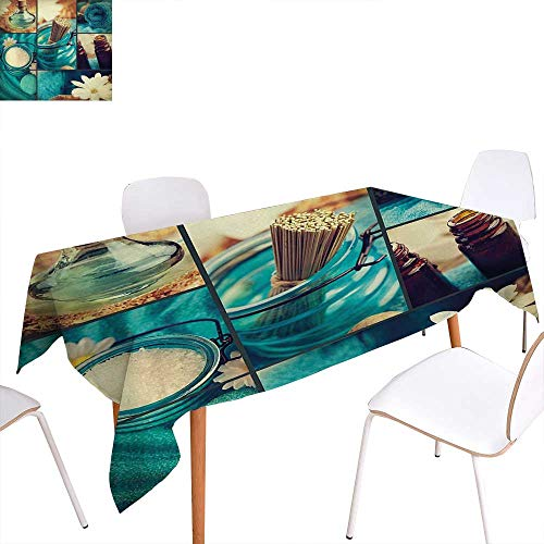 Warm Family Spa Rectangular Tablecloth Blue Themed White Daisies Scents Towels and Incense Artwork Collage Design Oblong Wrinkle Resistant Tablecloth 70