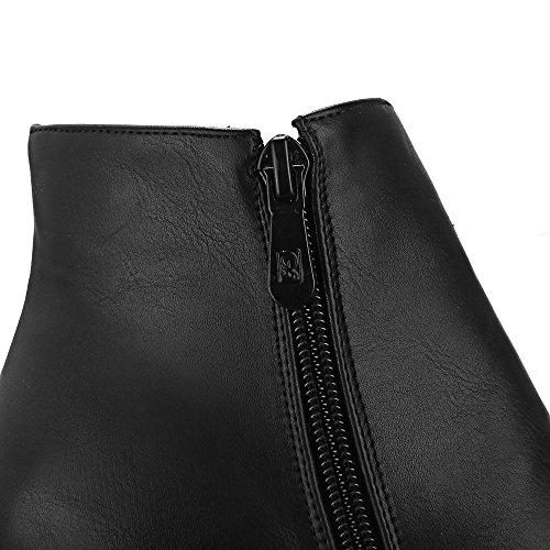 JIEEME Ladies Zip Round Toe Block Heels Women Boots Brown Black Ankle Shoes Women Black ekXr9