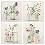 CoasterStone AS10180 ''Blossoms On Birch'' Absorbent Coasters (Set of 4), 4-1/4'', Multicolor