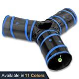 Prosper Pet Cat Tunnel - Collapsible 3 Way Play Toy - Tube Fun for Rabbits - Kittens - and Dogs - Black Blue