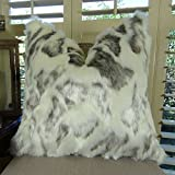 Thomas Collection large faux fur pillows decorative, animal themed throw pillows, Ivory Gray Rabbit High Low Pile Luxury Faux Fur Throw Pillow, INCLUDES POLYFILL INSERT, Made in US, 17428