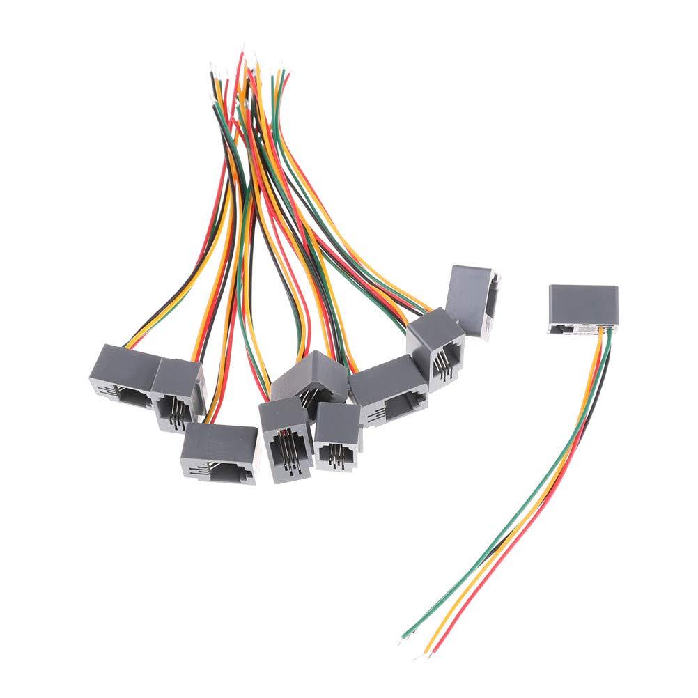 bin bon 10 pcs 616e 4p4c rj11 female telephone connector adapter 4 4 Pin Wire Connector