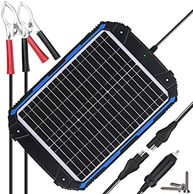 SUNER POWER Waterproof 12V Solar Battery Charger & Maintainer Pro - Built-in Intelligent MPPT Charge Controller - 18W 20W Solar Panel Trickle Charging Kit for Car, Marine, Motorcycle, RV, etc