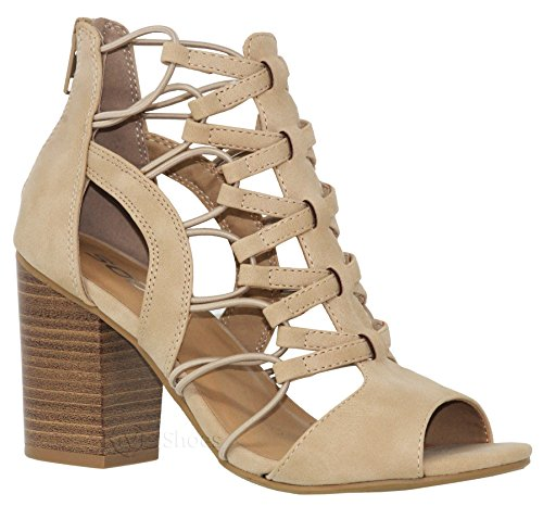 MVE Shoes Women's Peep Toe Strappy Block Sandals - Fashion Elastic Side Back Zipper Summer Shoes - Comfort Heeled Sandals, Taupe nbpu Size 10