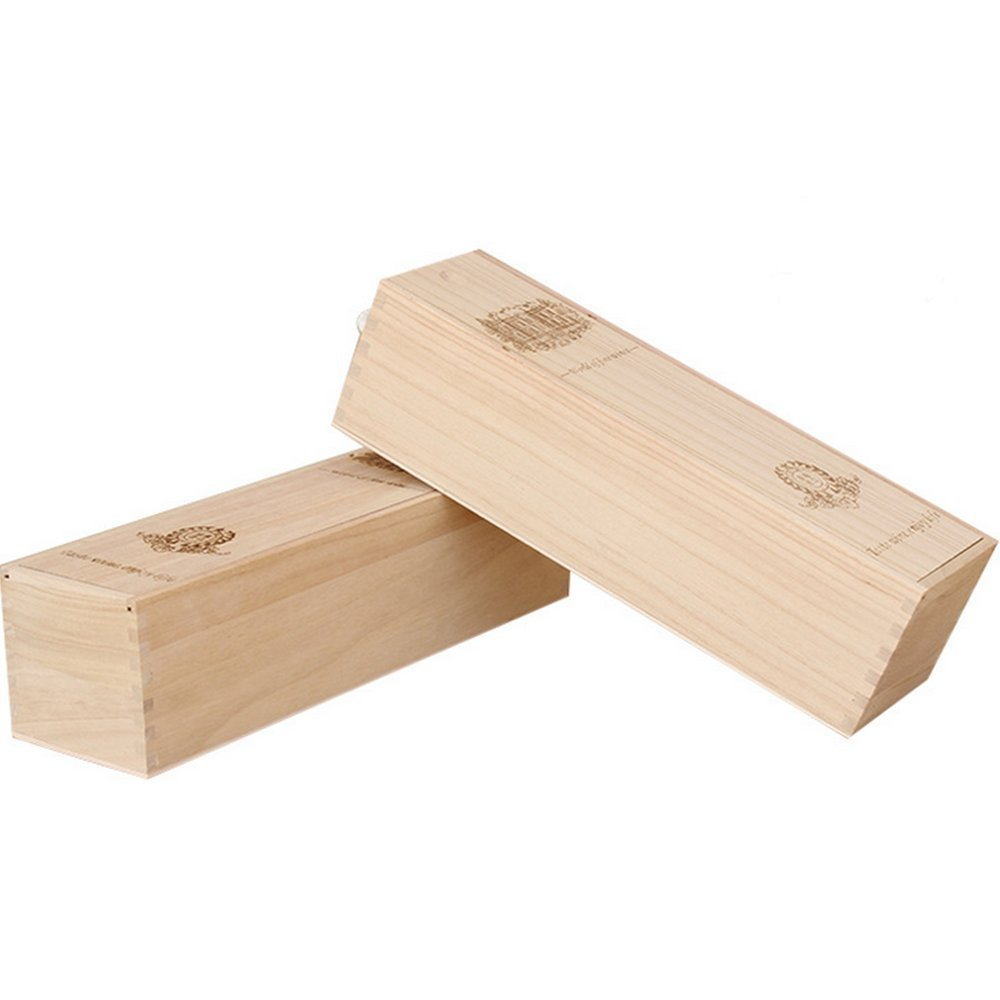 BaiJia Natural Wood Single Bottle Wine Box Carrier Crate Case Best Gift Decor by BaiJia (Image #5)