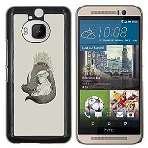 Jordan Colourful Shop - Wolf Couple For HTC One M9+ / M9 PLUS Personalizado negro cubierta de la caja de pl????stico