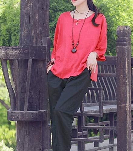 Mujer Huateng Lino Casuales De Para 18 opcional Top Pantalones qXHXwpxr7