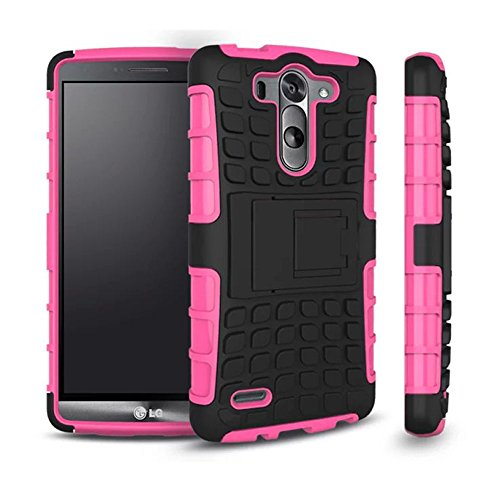 G3 Vigor/Mini Phone Case, Hongqing Shop 2 in 1 Tire Thread Slim Fit Dual Layer with Kickstand, PC Hard Armor Back Combine Muiti-color Option Soft TPU Inner Protective Cover Case for LG G3 Vigor/Mini 5 Inch Screen Smartphone (Hot Pink)