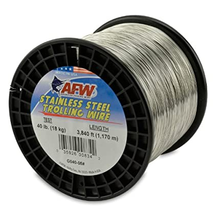 Image of American Fishing Wire Stainless Steel Trolling Wire, 40-Pound Test/0.56mm Dia/1170m Lead Core & Wire Line