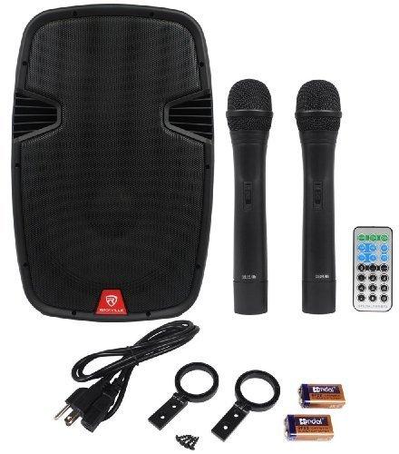 Rockville RAM15BT 15'' Rechargable Powered 800W PA Speaker, 2 Mics, Bluetooth