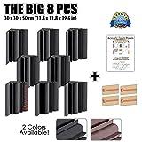 Dragon Dash (8 Pack) of 30 X 30 X 50 cm Black Acoustic Soundproofing Bass Trap Foam Studio Treatment Wall Panel Tiles