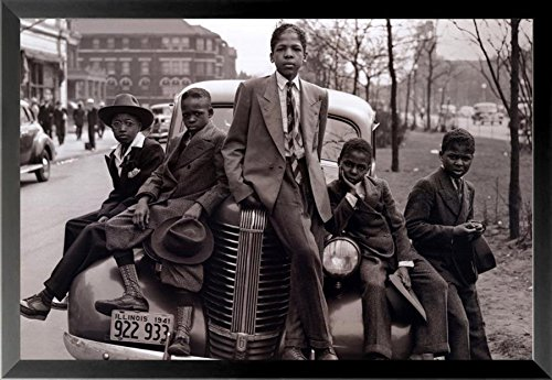 Buyartforless Framed Sunday Best - Chicago Boys Easter Sunday 1941 by Russell Lee 36x24 Photographic Art Print Poster Black Urban Youth on Car Southside